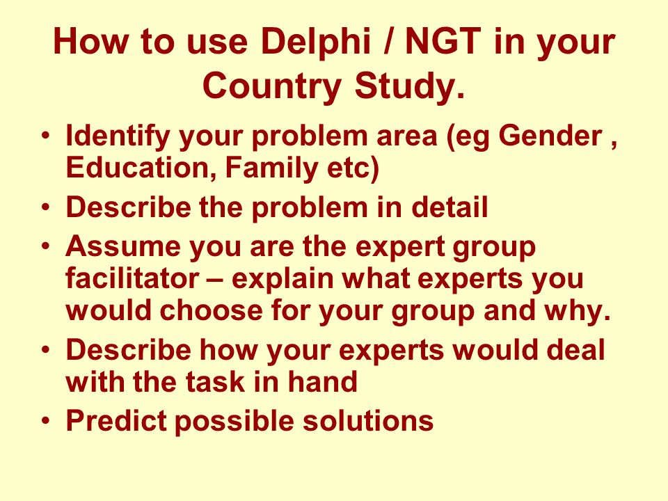 How to use Delphi / NGT in your Country Study.