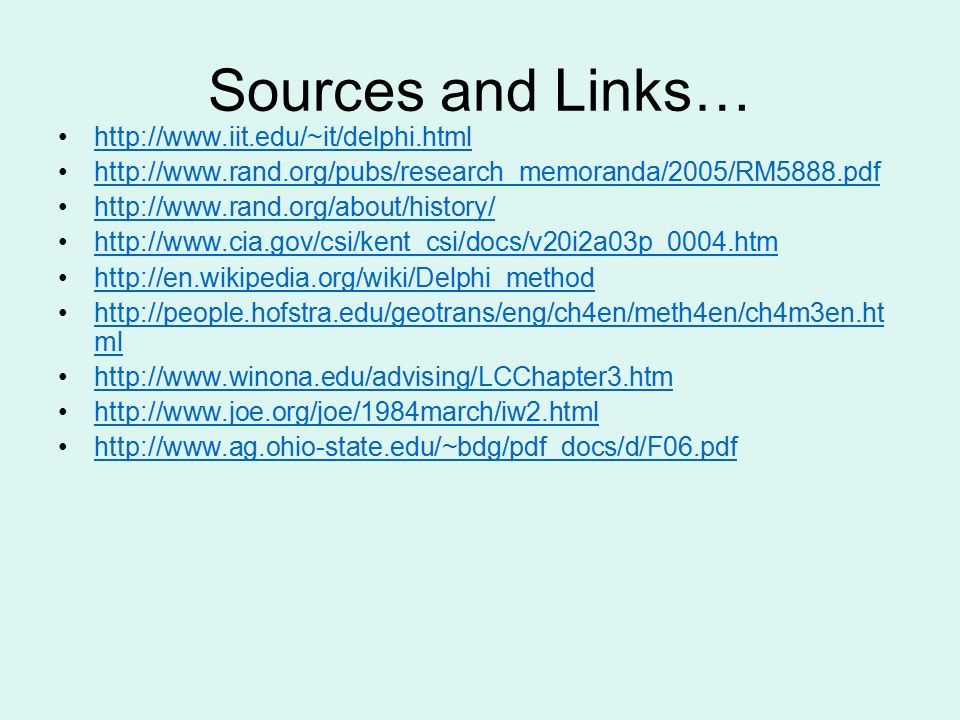 Sources and Links…