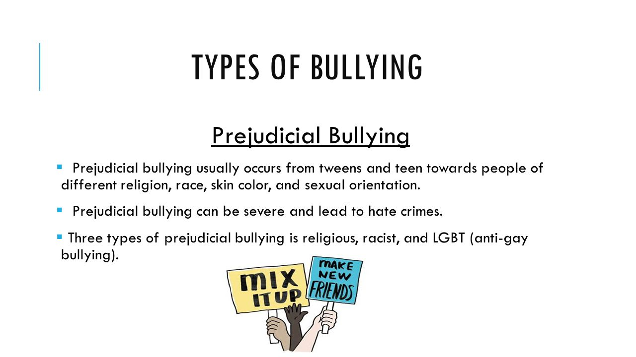 Different forms of teen bullying