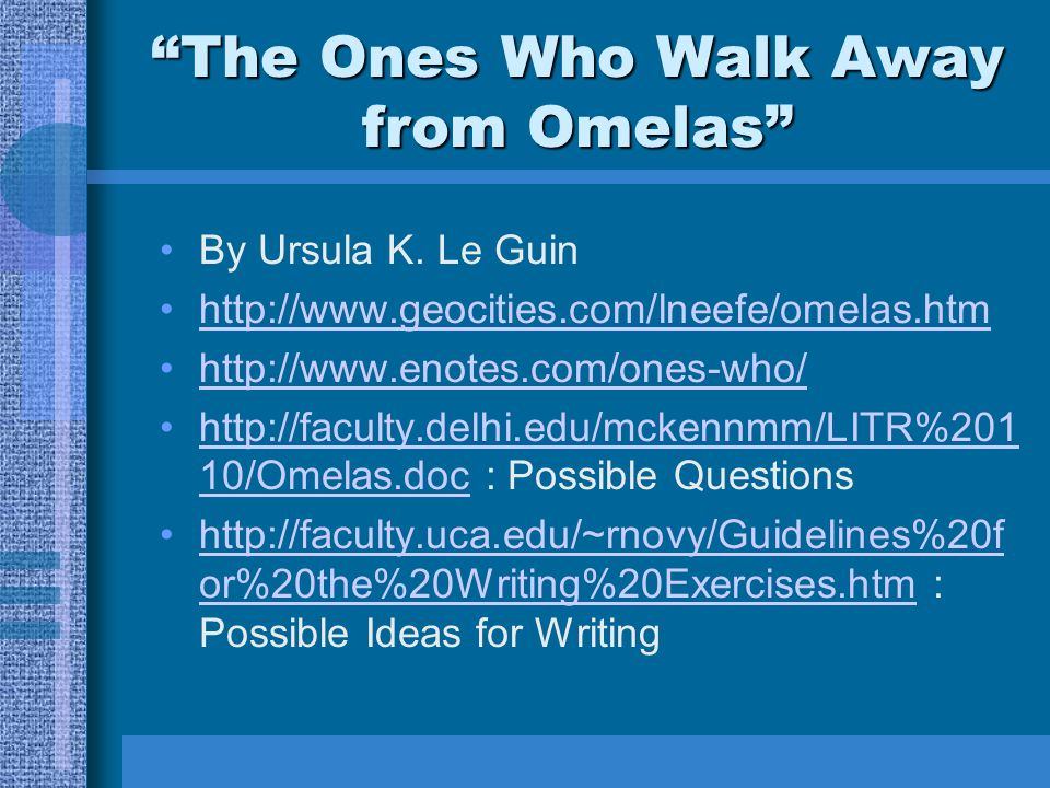 an analysis of the topic of the ones who walk away from omelas