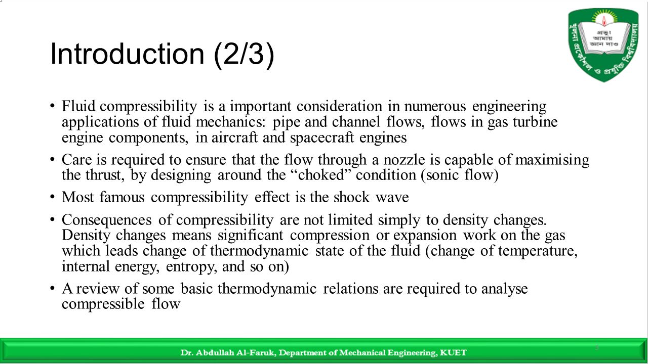 channel flow of a compressible fluid