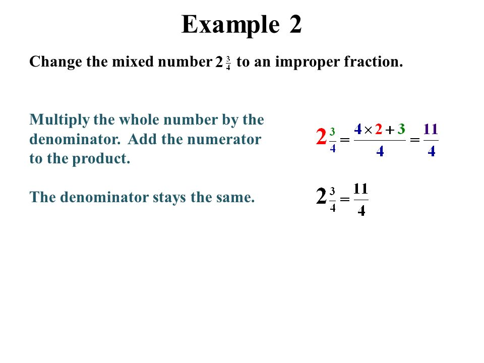 how to change whole number to improper fraction