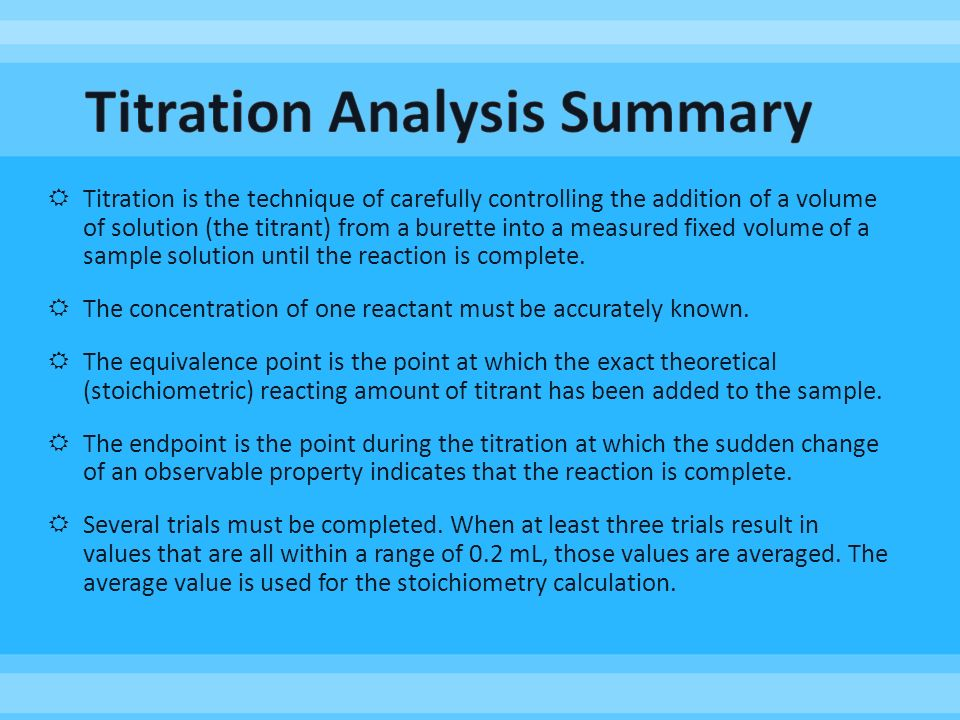 analysis of ribena using titration Assume that the visual endpoint of this titration is also the equivalence point and use this assumption to calculate the quantity of chloride present in an unknown sample in other words, the analysis.
