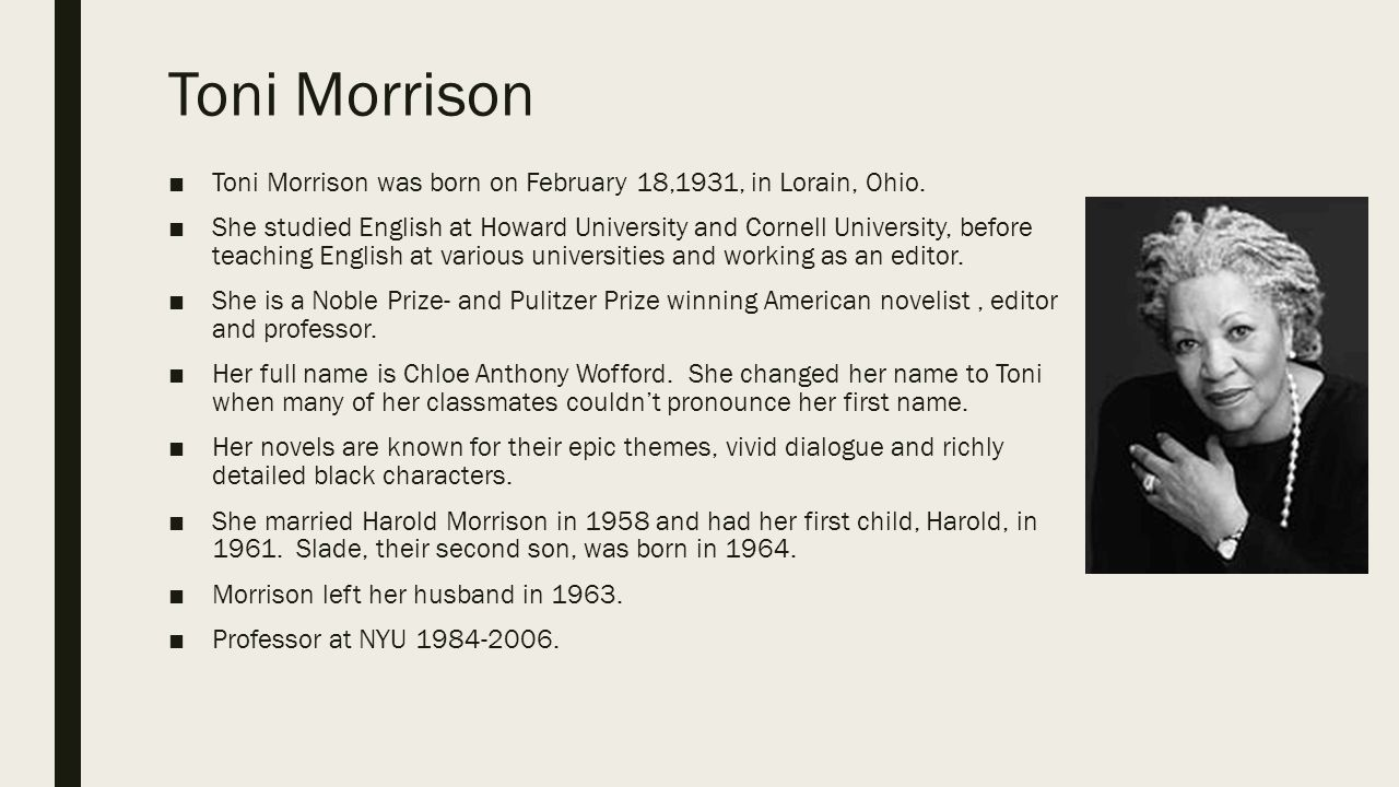 Toni Morrison Yearbook Photograph
