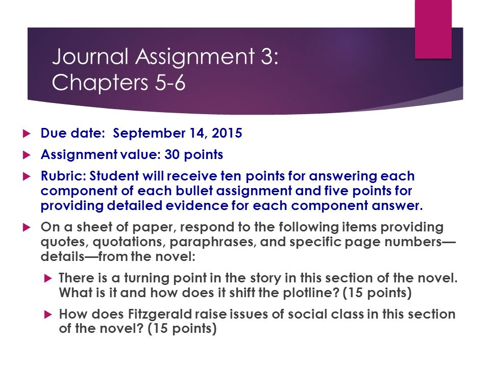 Turning point essay assignment