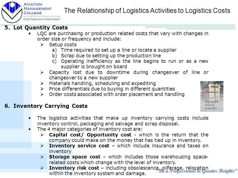 logistic inventory and total logistics cost Key words: logistics total cost logistics costs logistics cost trade-offs  costs  to be compensated by lower costs in inventory maintenance, storage and.