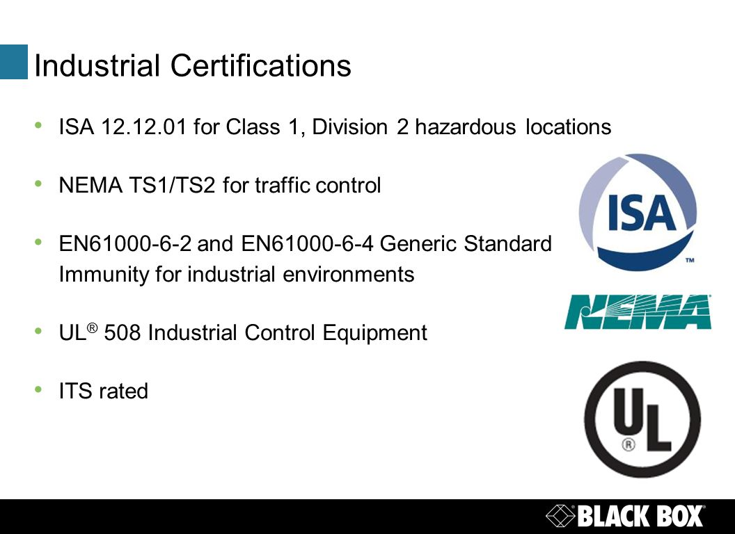 Isa networks inc - 3 Industrial Certifications