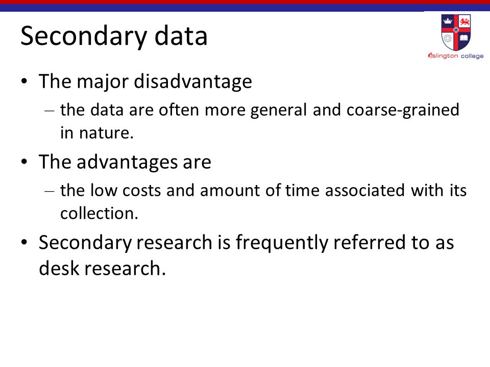 secondary research advantages and disadvantages pdf
