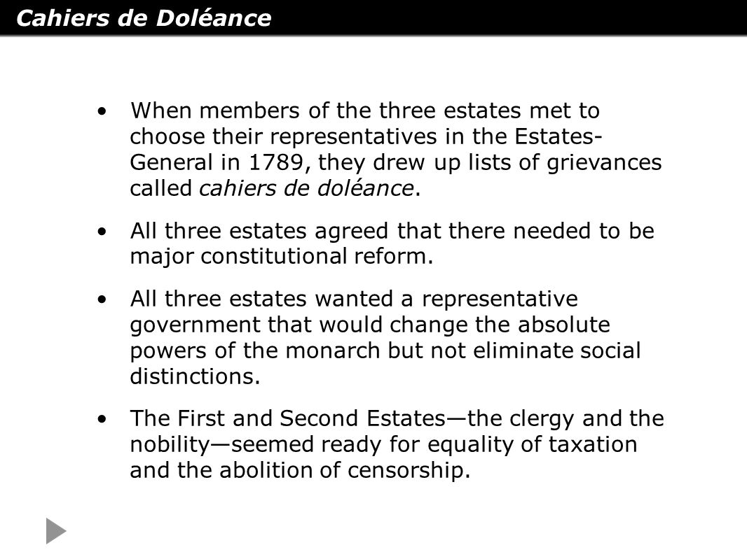 grievances of the third estate These grievances of the third estate was addressed by the bourgeoisie who brought up the declaration of rights of man and citizen claiming that all men all created equal the bourgeoisie who were the middle class were the wealthy members of the third estate and were educated men well read in the enlightenment.