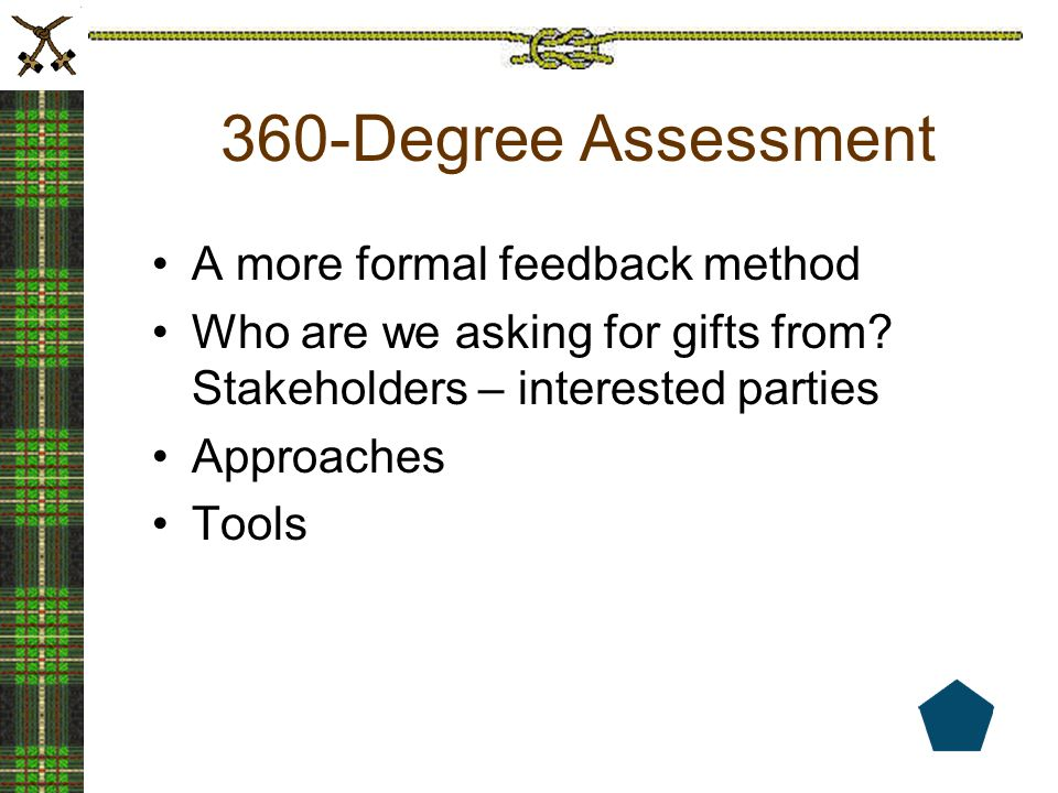 360-Degree Assessment A more formal feedback method