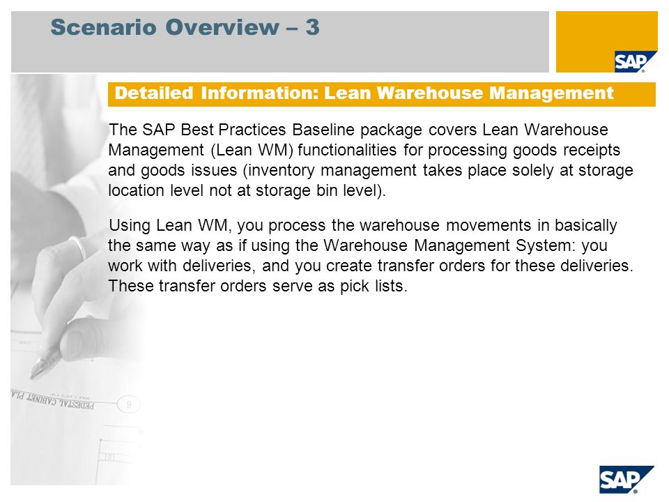 Lean Warehouse Management Sap Best Practices Baseline