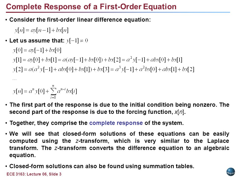 Linear Constant-Coefficient Difference Equations - ppt download