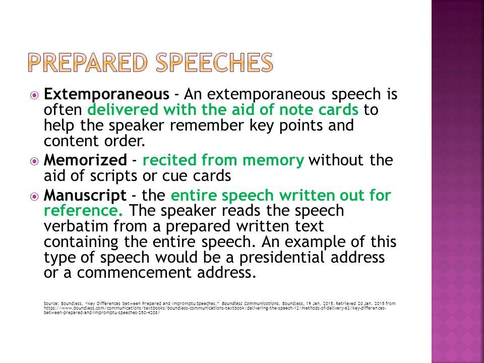 impromptu extemporaneous manuscript memory ppt video