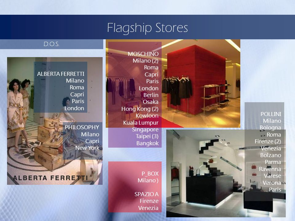 Flagship Stores D.O.S. MOSCHINO Milano (2) Roma Capri Paris London