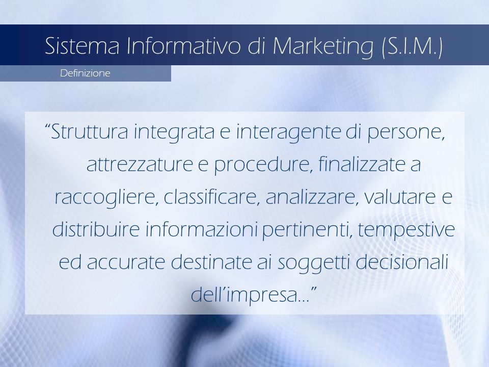 Sistema Informativo di Marketing (S.I.M.)