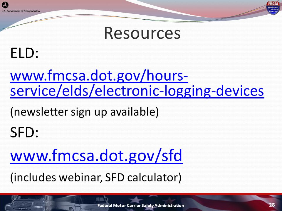 Fmcsa update tta middle tennessee eld and sfd update ppt for Federal motor carriers safety administration
