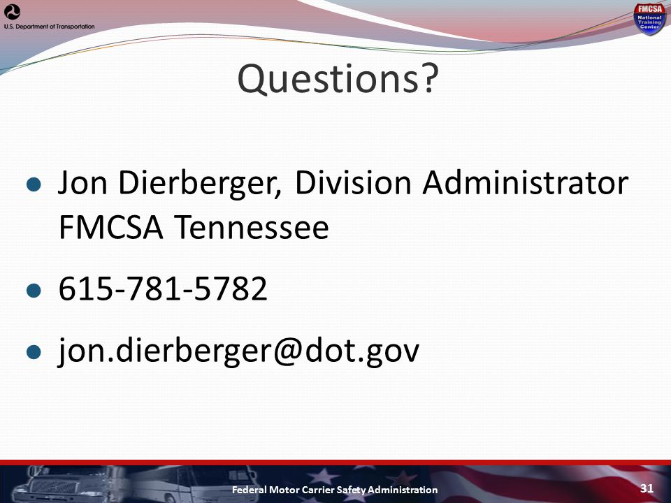 National motor carrier safety administration for Federal motor carrier safety administration