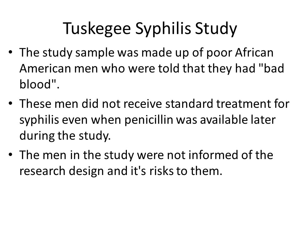tuskegee syphilis study research paper Tuskegee experiment research project the tuskegee syphilis study is one of the most horrendous examples of research carried out in disregard of basic ethical.