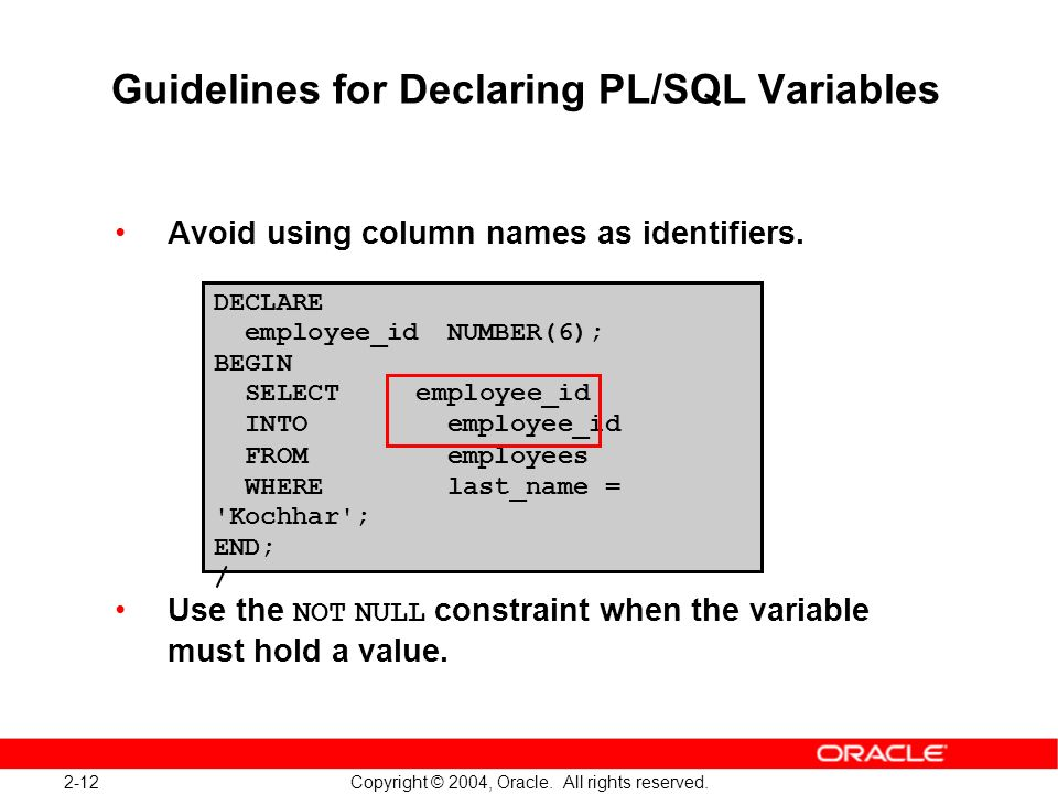 PL/SQL variables identifying guidelines