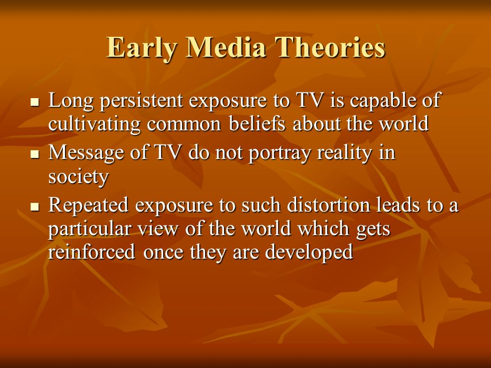 early media theories Education theory is the theory of the purpose, application and interpretation of education and learning it largely an umbrella term, being comprised of a number of theories, rather than a single explanation of how we learn, and how we should teach.