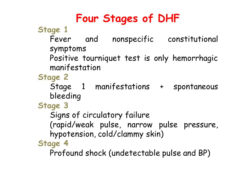 Four Stages of DHF Stage 1