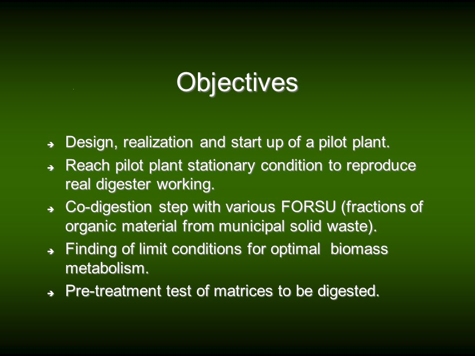 Objectives Design, realization and start up of a pilot plant.