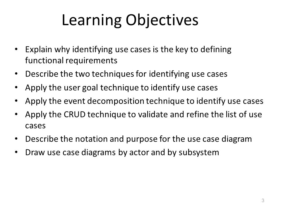 Week04 project requirements ppt video online download learning objectives explain why identifying use cases is the key to defining functional requirements ccuart Choice Image