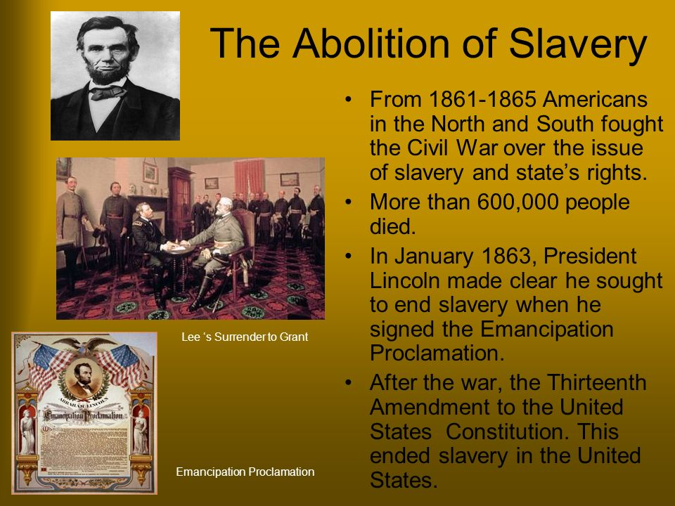 the emancipation proclamation and the end of slavery in the united states of america President of the united states of america,  of the emancipation proclamation to  of slavery was not disturbed by the proclamation in.