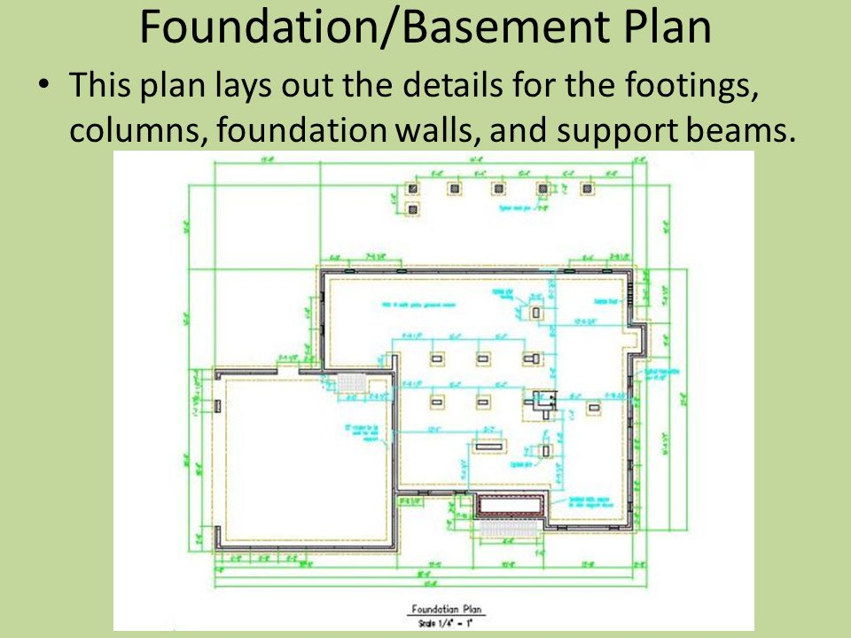 Architectural drawings components of house plans ppt for Foundation plan drawing