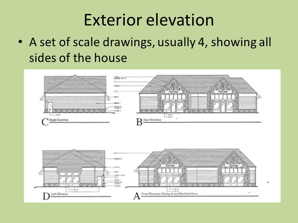 Front Elevation Design Drawing : Architectural drawings components of house plans ppt