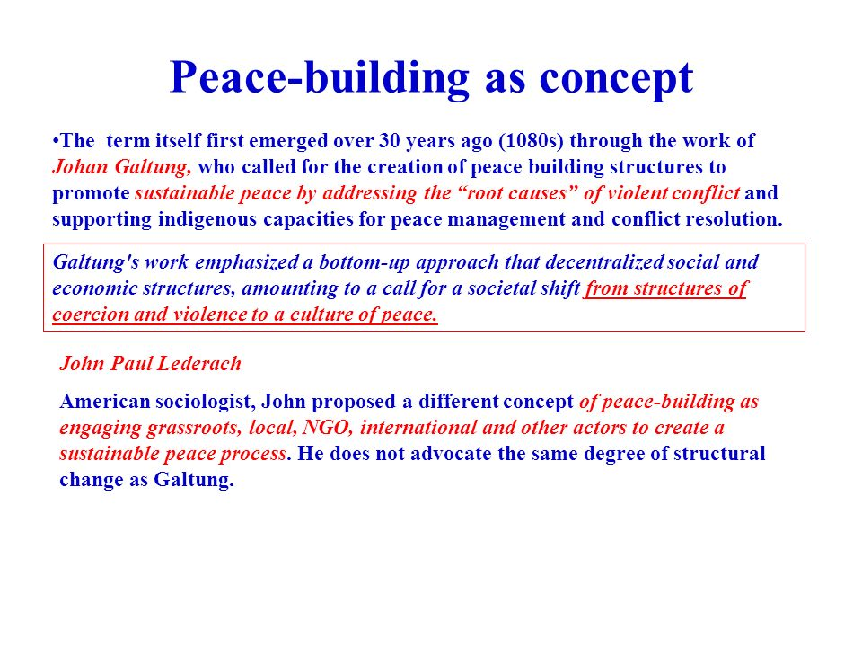 peace building process essay The role of women in peace-building women's interests have been neglected by the peace process, which has resulted in male-centered approaches to peace and.