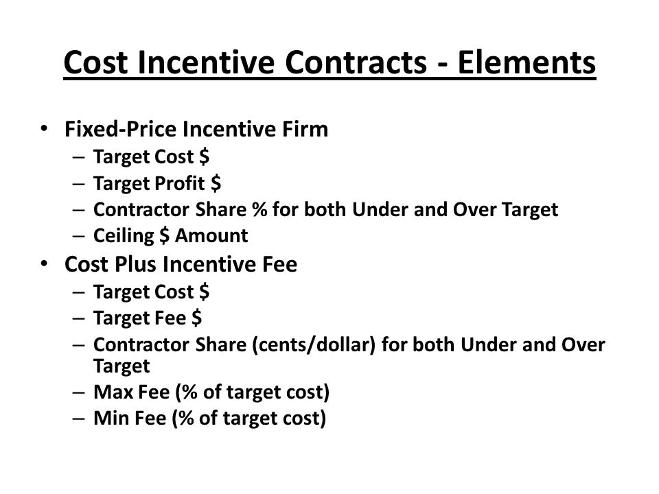 Incentive contracting ppt download for Fixed price construction contract