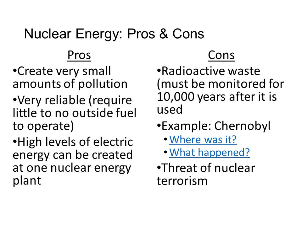 the pros and cons of nuclear power Nuclear power the pros of nuclear power nuclear power provides substantial amounts of energy while emitting very few greenhouse gases greenhouse gases trap.