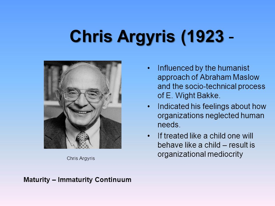 Chris argyris immaturity maturity theory ppt