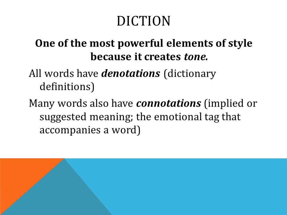 Literary analysis diction