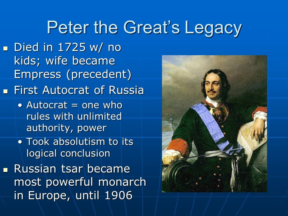 peter the great absolutism essay Louis xiv and peter the great were two of the most famous absolutism monarchs in europe - who was the better leader, louis xiv or peter the great introduction in my point of view louis xiv did a better job as a leader.