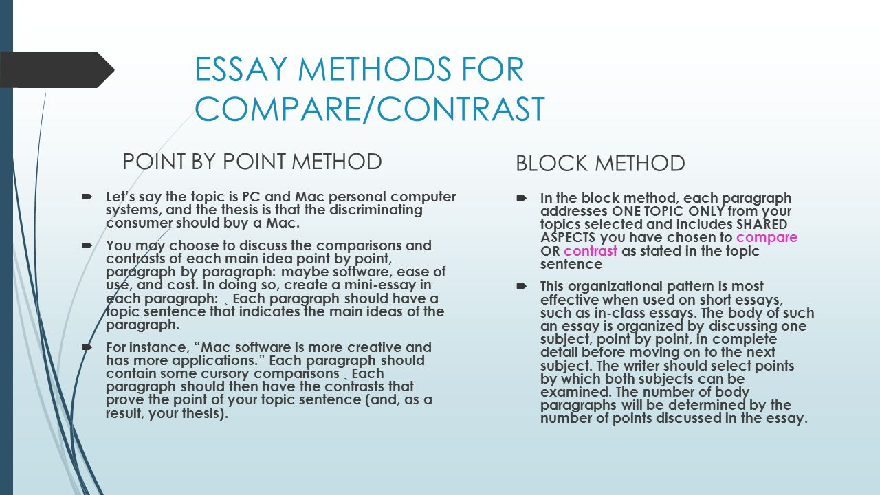 compare contrast point point essay Compare and contrast essays are multi-paragraph compositions that explain ways in which two (or occasionally more) introduce the thesis and main points in the first paragraph, then use the body of the essay to go into detail about each point.