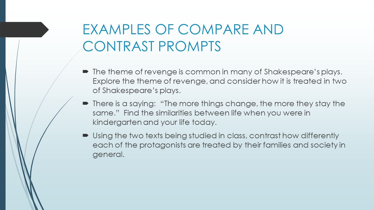 compare and contrast essay writing prompts Your writing prompt will shape your writing prompt of a compare/contrast essay: write a paper in which you compare and contrast two speeches with the same.