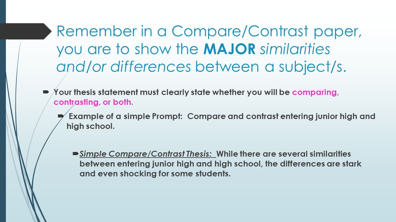 remember in a comparecontrast paper you are to show the major similarities and - Comparison Essay Thesis Example
