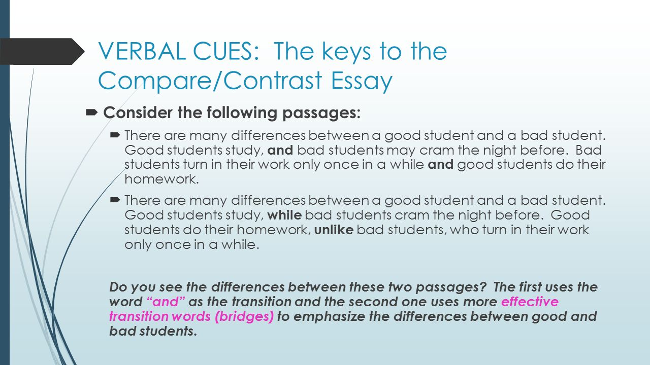 a good comparison and contrast essay This lesson explains what it is to write a compare and contrast essay for the student who needs to describe two subjects, a compare and contrast.