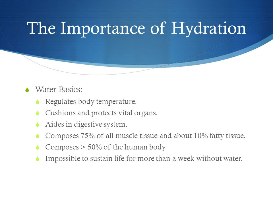 the importance of fluids and hydration for athletes The importance of hydration is clear for everyone on this planet, and even more so for athletes hydration itself is the process of replacing lost water in the body which can be achieved by drinking water, eating foods that contain water, drinking other fluids which are largely composed of water, and eating fruits that contain high amounts of .