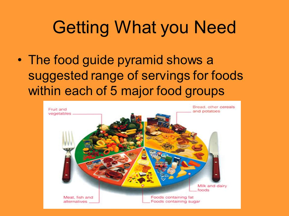 Getting What you Need The food guide pyramid shows a suggested range of servings for foods within each of 5 major food groups.