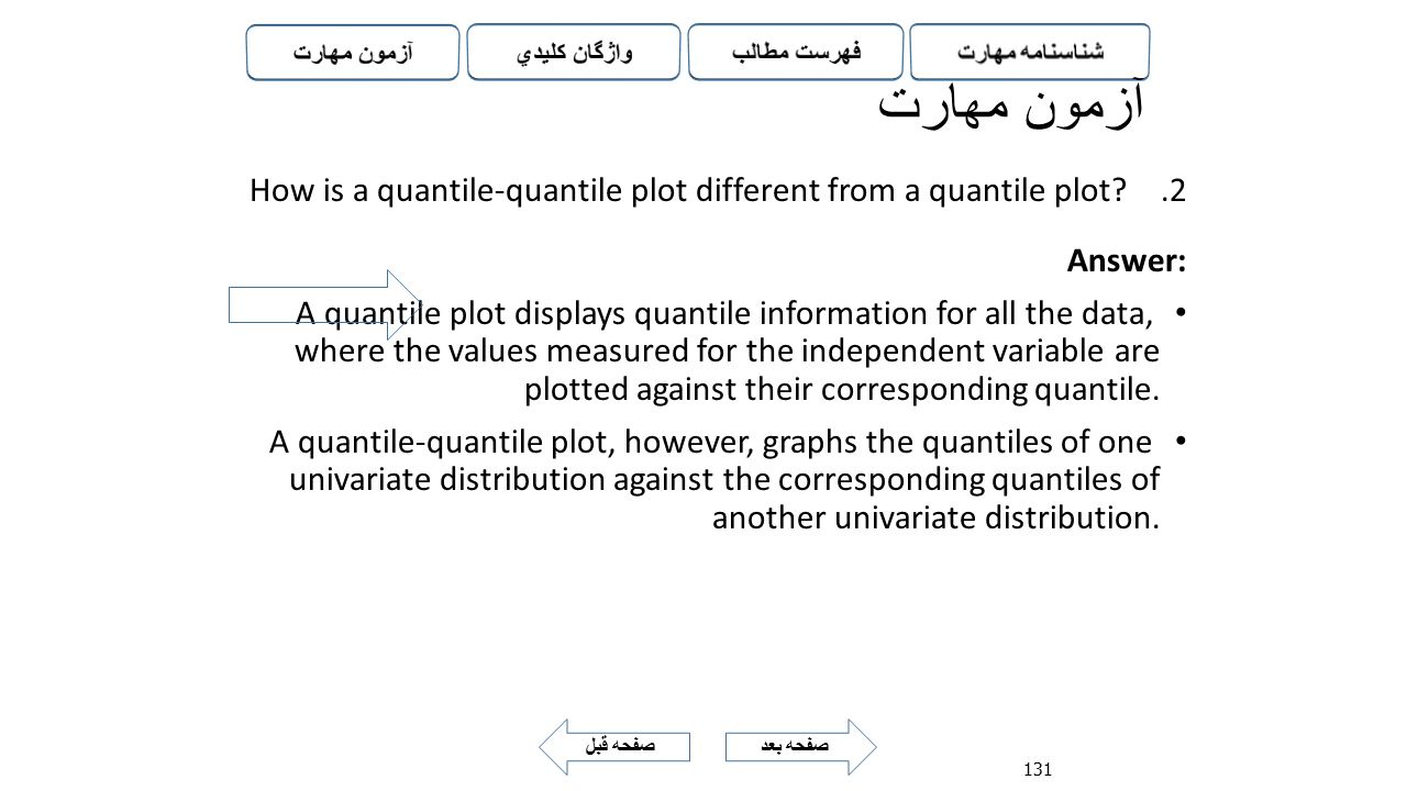آزمون مهارت How is a quantile-quantile plot different from a quantile plot Answer:
