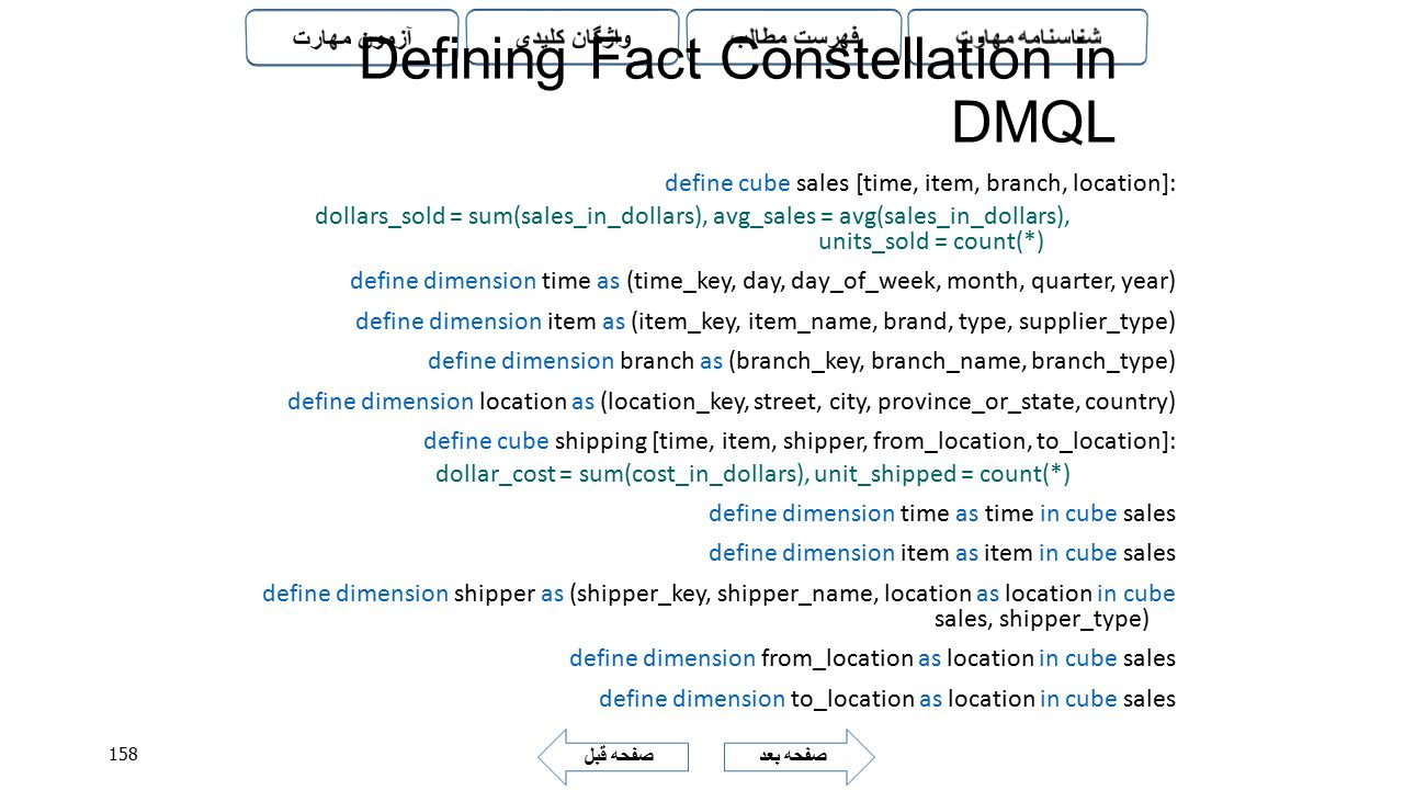 Defining Fact Constellation in DMQL