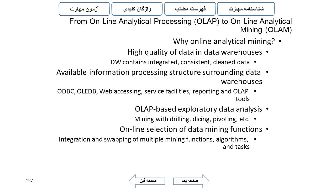 Why online analytical mining High quality of data in data warehouses