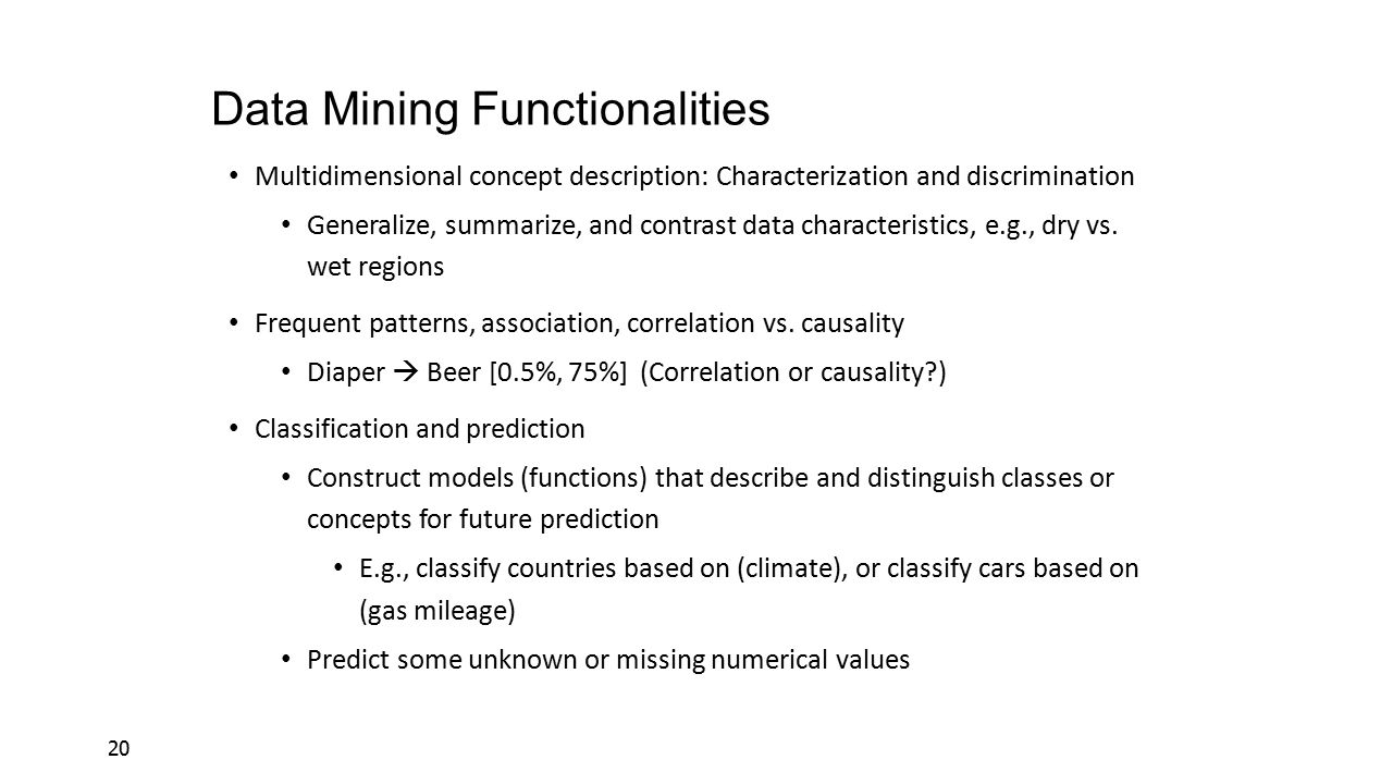 Data Mining Functionalities