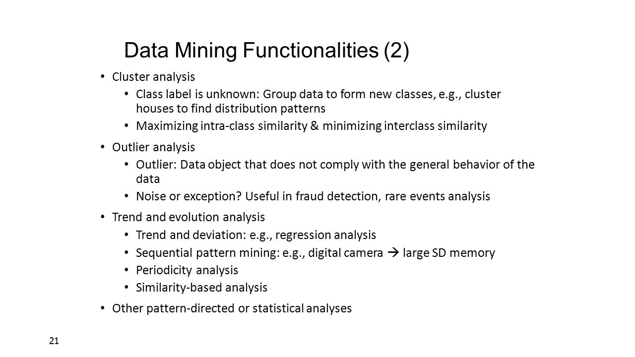 Data Mining Functionalities (2)