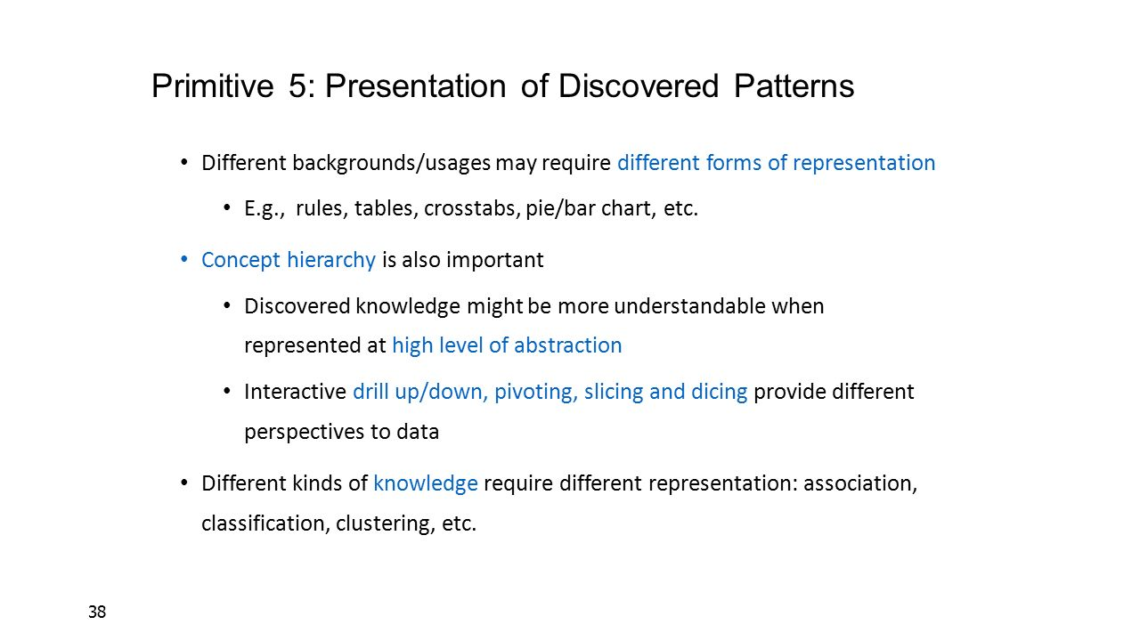 Primitive 5: Presentation of Discovered Patterns