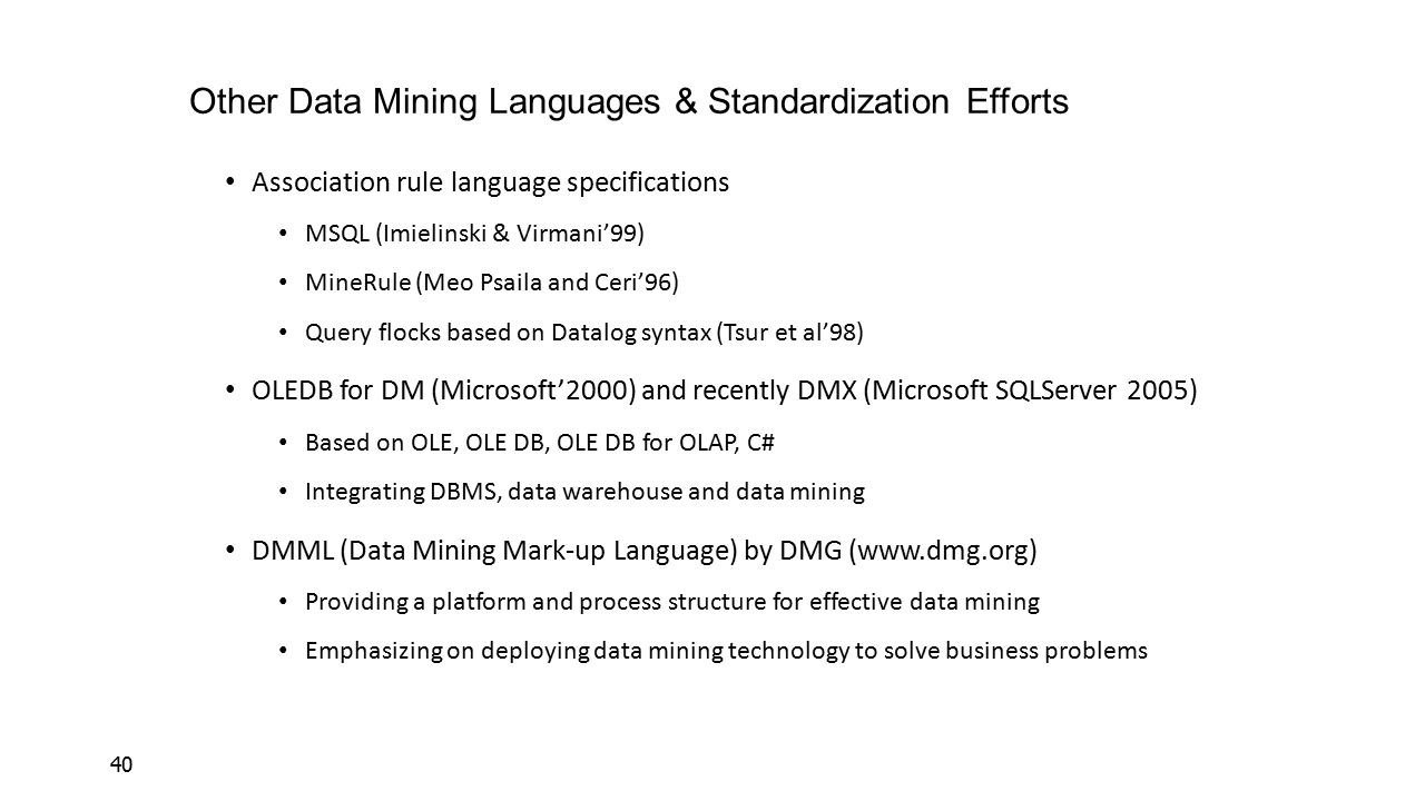 Other Data Mining Languages & Standardization Efforts