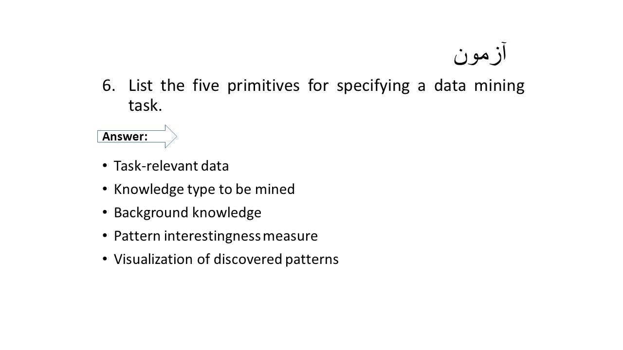 آزمون List the five primitives for specifying a data mining task.